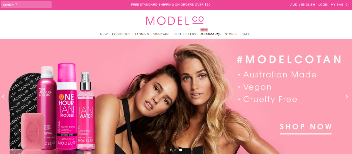 Screenshot of Model Co Australia, a cosmetics brand with an affiliate program letting website owners earn commissions by promoting Australian made, Vegan-friendly and cruelty-free makeup products.