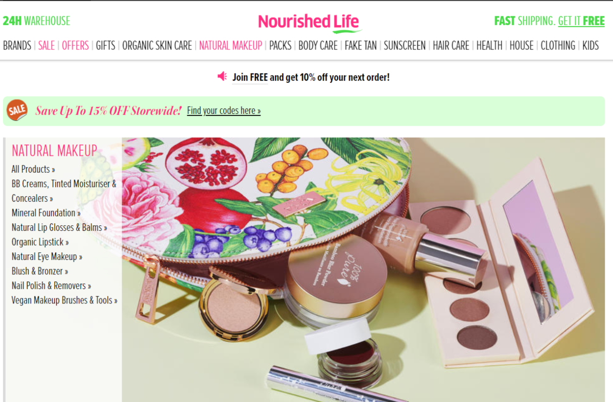 Screenshot of the Nourished Life website showing the categories of makeup and accessories they have available. All are vegan-friendly and natural.