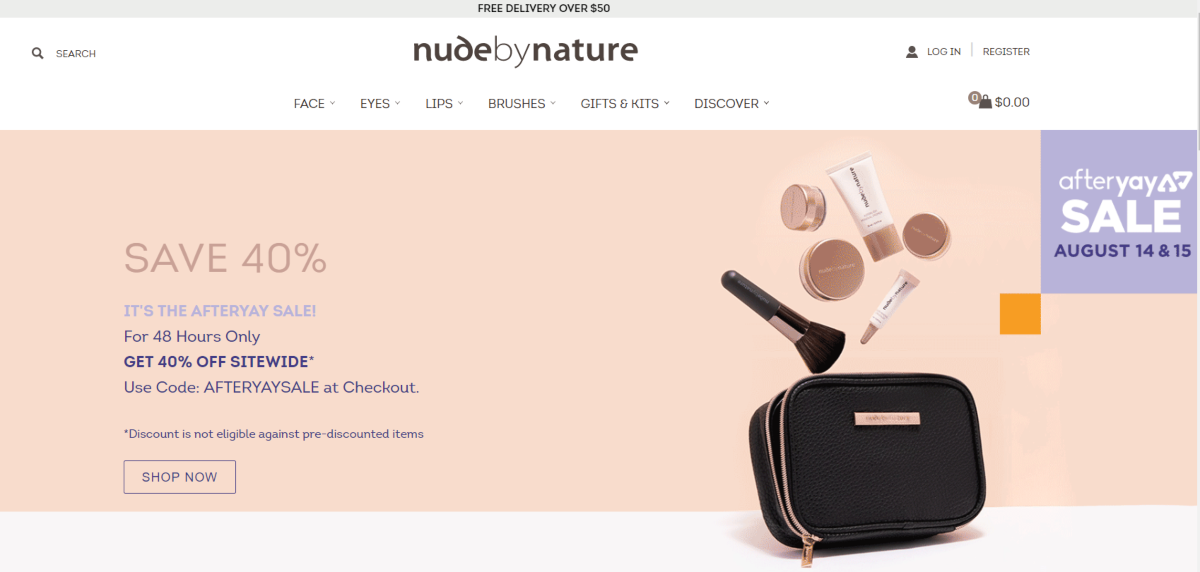 Screenshot of the Nude by Nature website showing the categories of makeup and accessories affiliates can earn from promoting