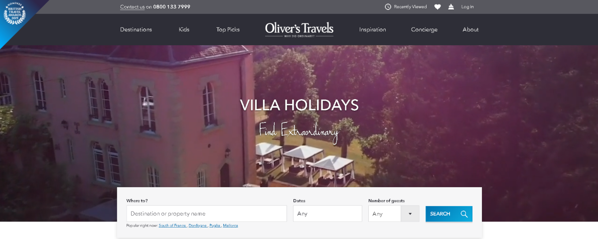 Screenshot of the Olivers Travels website showign the upmarket villa holidays they have available