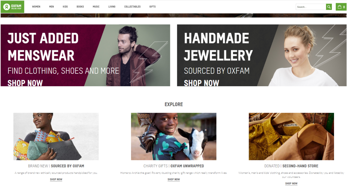 Screenshot of the Oxfam online shop. Oxfam is the UK's best-known second hand store with thousands of items in their sustainable fashion range - including ex-celebrity designer labels.
