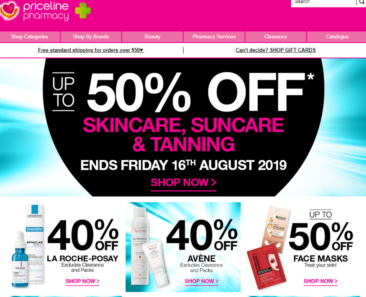 Screenshot of Priceline Pharmacy Australia website showing discounts of 40% to 50% discounts on makeup and skincare products
