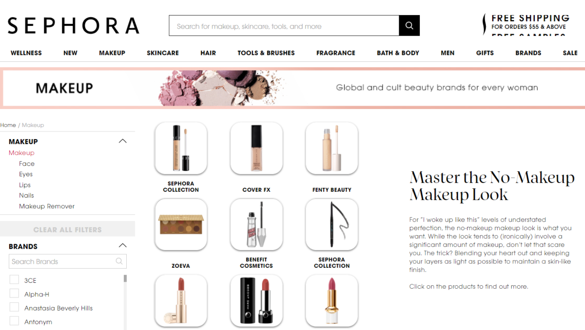 Screenshot of the Sephora Australia website showing the makeup category and makeup tips from Sephora beauty specialists