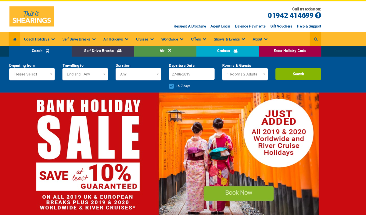 Screenshot of the Shearings Holidays website showing the wide variety of escorted tours they offer in the UK and outward tours to international destinations