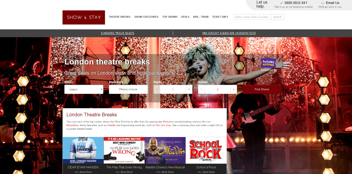 Screenshot of the Show and Stay website showing some of their latest top selling London theatre breaks