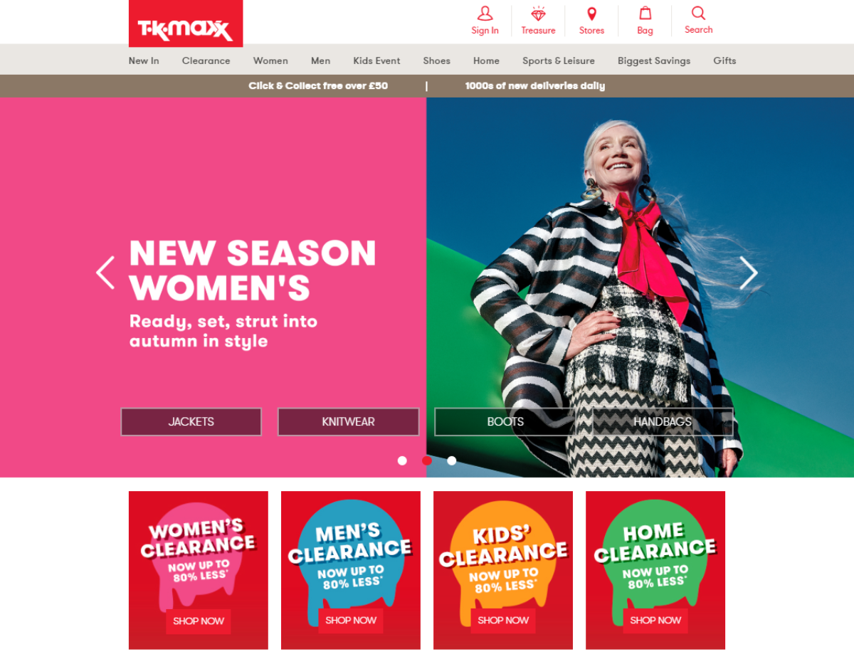 Screenshot of the TK Maxx homepage showing the various fashion categories they have. TK Maxx are a UK discount retailer with most designer label items sold at 60% of RRP.