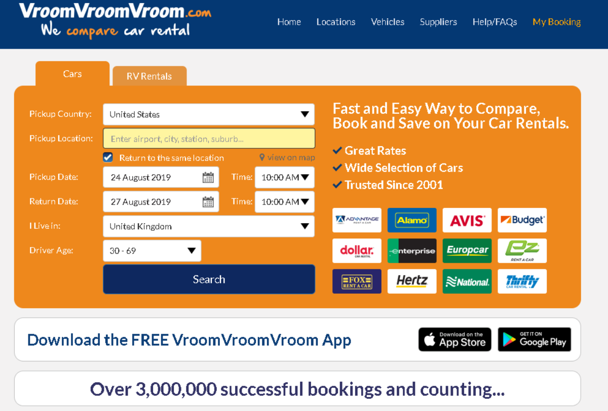 This is a screenshot of the Vroom Vroom Vroom car rental and motorhome rental website -  a search comparison site for tourists to find the cheapest deals in the UK