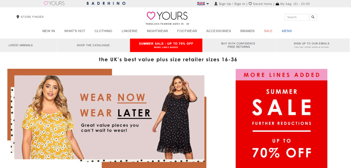 Screenshot of Yours Clothing website. A UK plus-sized women's fashion website with an affiliate program paying 15% commission.