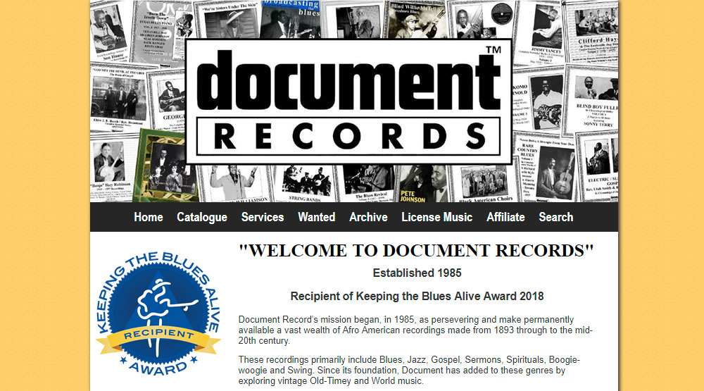 document records home page