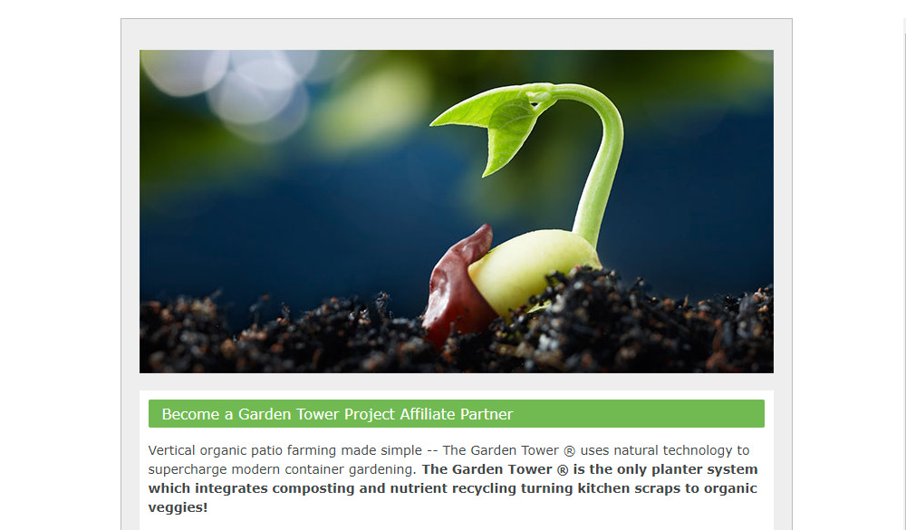 garden tower project affiliate sign up page