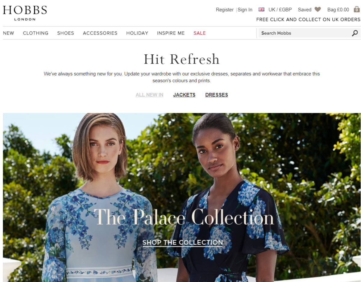 Screenshot of the Hobbs London Website showing the latest fashion collection UK affiliates can promote.