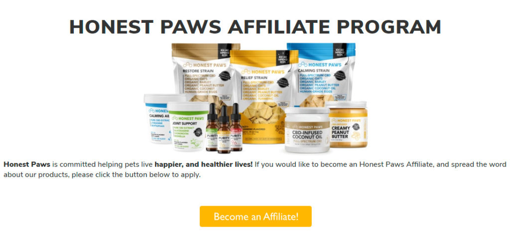 honest paws affiliate signup page