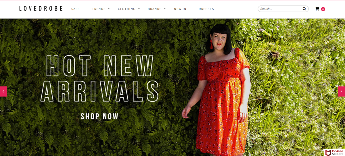 Screenshot of the Love Drobe fashion website. A UK plus-sized website for women's clothing, paying affiliates 20% commissions on sales generated.