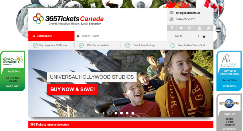 Screenshot of the 365 Tickets Canada Websites showing some of the special offers available