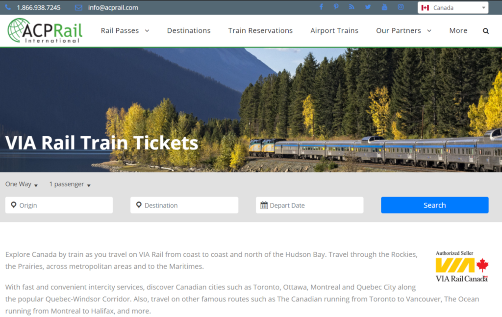 Screenshot of the ACPRail.com  website showing they are an authorized seller for Via Rail Canada, which is among the larger rail networks operating in all metropolitan districts.