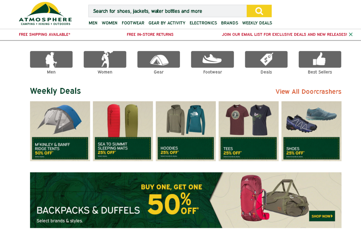 Atmosphere sell clothing for hiking, mountain sports and outdoor wear. This image is a screenshot of the Atmosphere Canada homepage showing images of tens, sleep mats, hoodies, tees, shoes, backpacks and duffels.