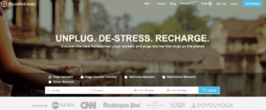 Screenshot of the Book Retreats homepage displaying their tagline - unplug, de-stress and recharge followed by a search bar to find a relaxing retreat. Over a dozen are available in Canada.