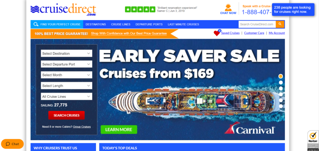 Screenshot of the Cruise Direct website, which has around 30 cruises for Canada
