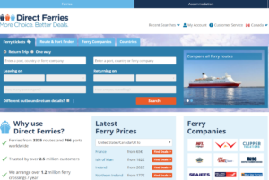 Screenshot of the Direct Ferries website, which is a booking engine for ferry tickets covering all the major ferry operators across Canada