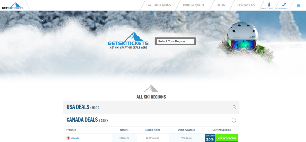Screenshot of GetSkiTickets.com where there's hundreds of deals for Canadian Ski Slopes as as well as ski lift tickets for all ski resorts in Canada