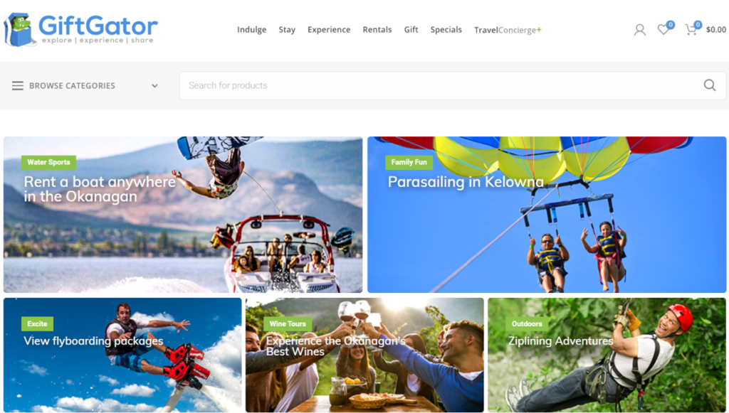 Screenshot of the GiftGator.ca website showing some of the experiences they have available across Canada