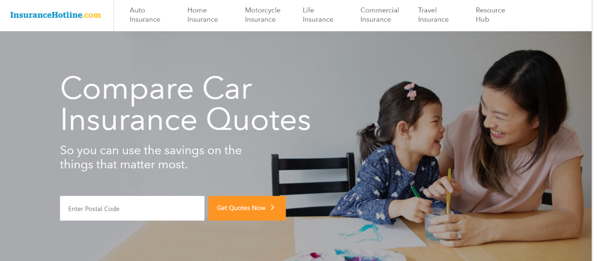 Screenshot of the Insurance Hotline website showing the various types of insurance products they provide quotes for. This includes life insurance, car insurance, travel insurance, motorcycle insurance and home insurance.