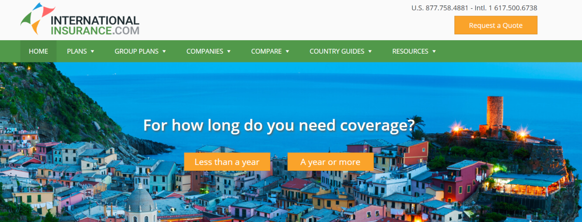 Screenshot of InternationalInsurance.com which shows clearly they're a travel insurance broker specializing in longer-term travel insurance.