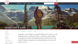 Screenshot of the Canada tour category page on Intrepid Travel's website