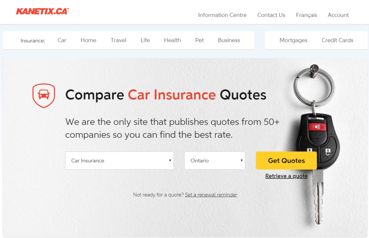 Screenshot of the Kanetix Canada insurance homepage showing the various types of insurance they can provide quotes for, which include life, car, home, pet, health, travel and business insurance.