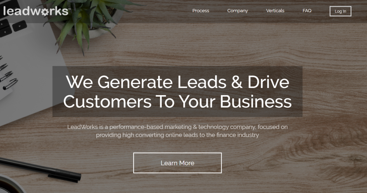 Screenshot of the Lead Works landing page where the service is described as generating leads to drive customer to businesses.