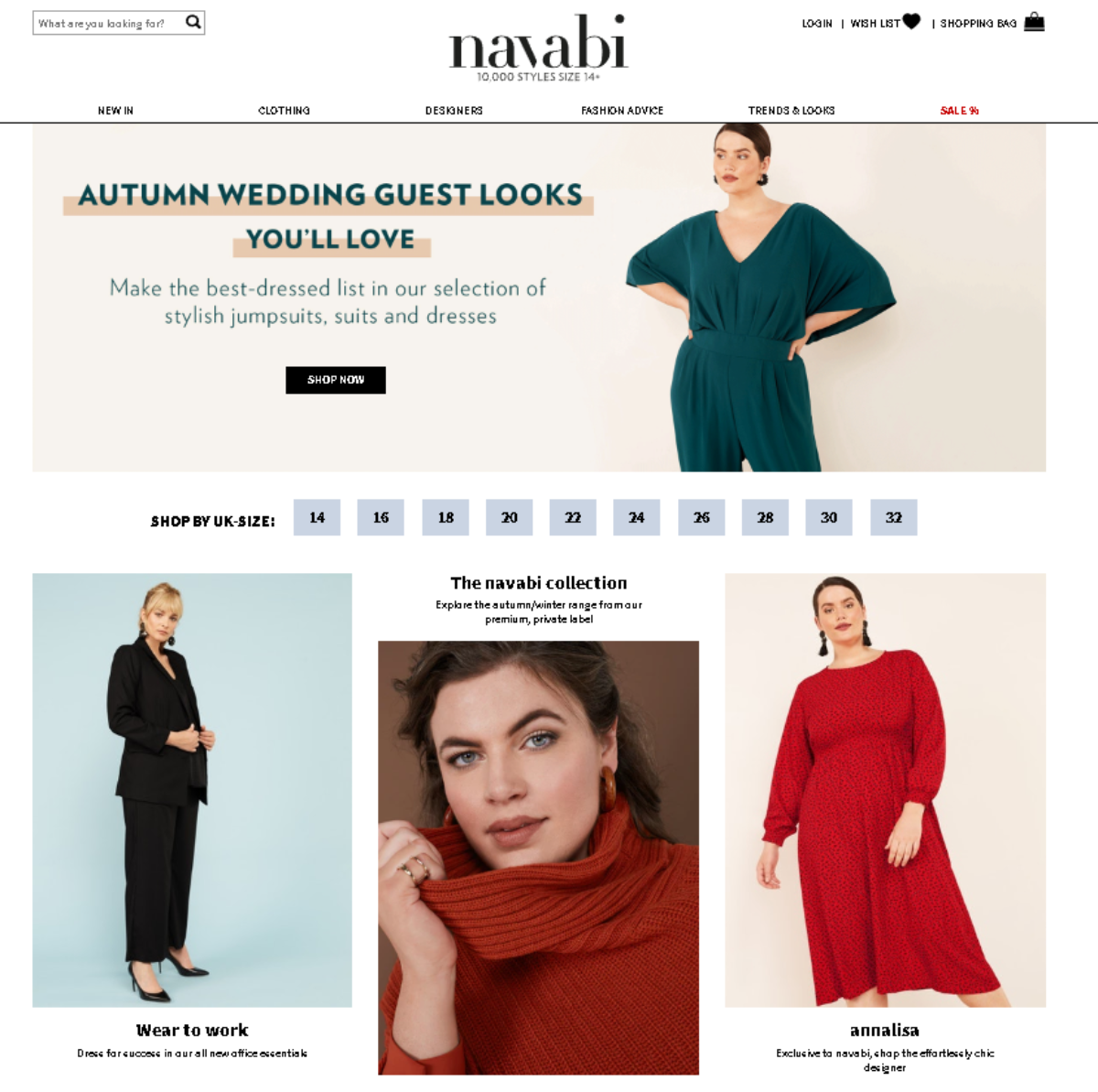 This is a screenshot of the Navabi website. A plus-sized fashion store for women.