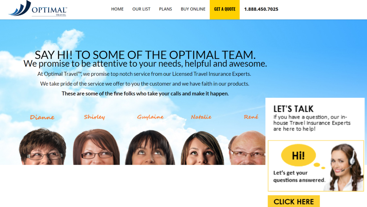 Screenshot of the Optimal Travel Insurance website showing headshots of their team of six and a good eye catching call to action encouraging people to call for an insurance quote.