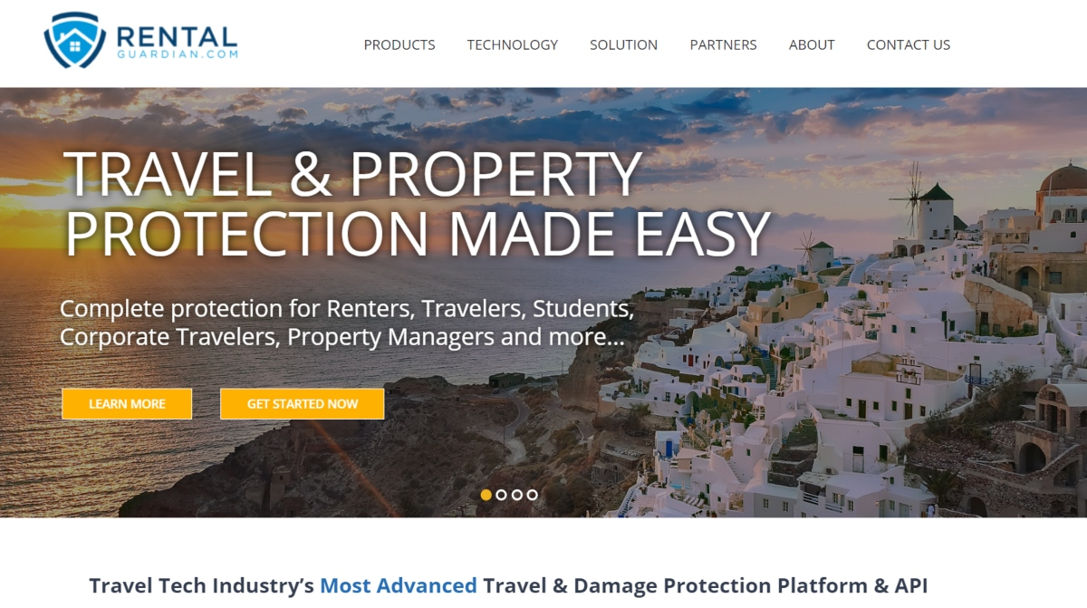 Screenshot of the RentalGuardian.com website which provides accidental damage insurance to vacation home owners.