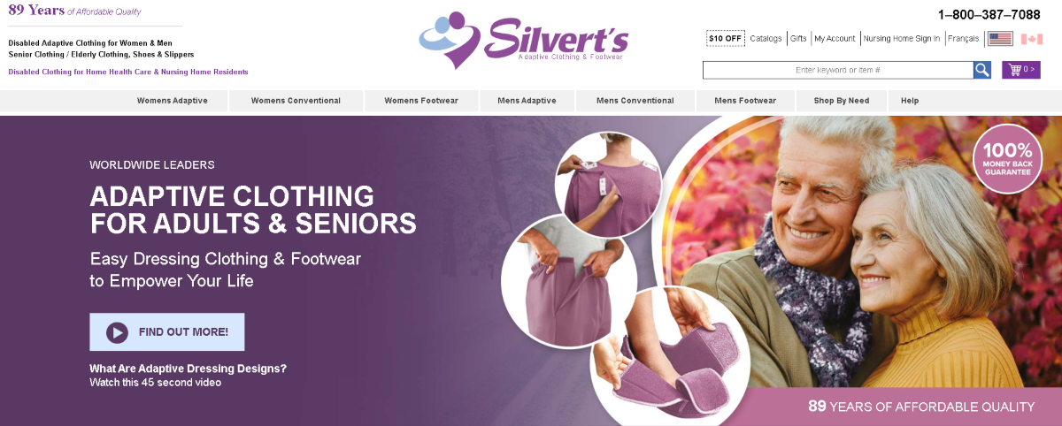 Screenshot of the Silvert's website homepage showing the adaptive clothing available for adults and seniors.