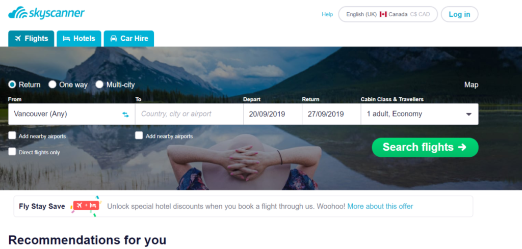 Screenshot of the Skyscanner Canada home page showing people can book flights, hotels and car hire