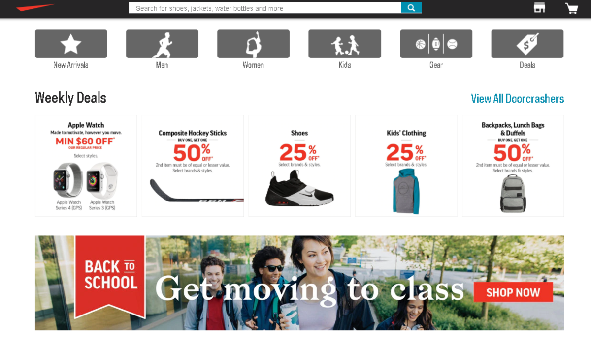 This is a screenshot the Sportchek.ca homepage with some promotions for back to school on their kids range.