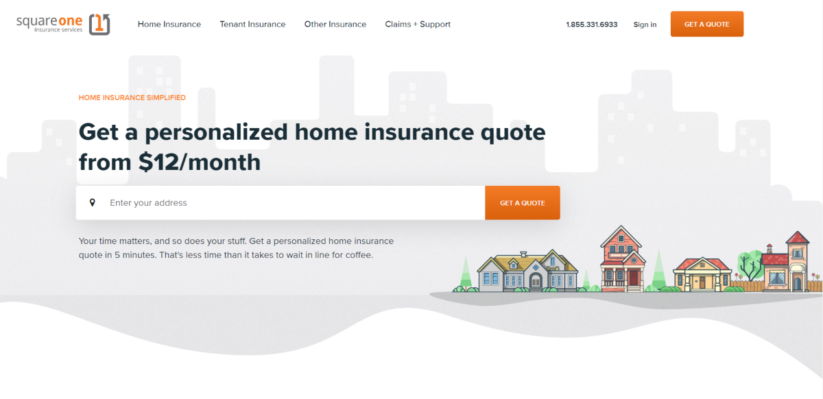 Screenshot of the Square One Insurance home page showing home insurance quotes as low as $12 per month.
