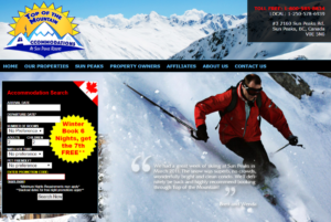 Screenshot of the Top of the Mountain website, showing current deals on luxury accommodation on the Sun Peaks Resort (BC, Canada) where there's 3 mountains and a range of winter activities available