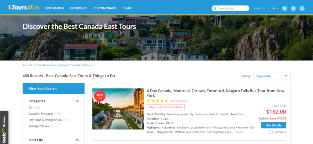 Screenshot of the Tours4Fun.com website showing some of the Canada East tours available. There are more for Canada West tours too.