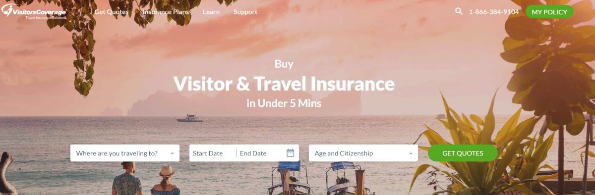 Screenshot of the Visitors Coverage home page showing that tourists can get travel insurance quotes in just five minutes using the website.