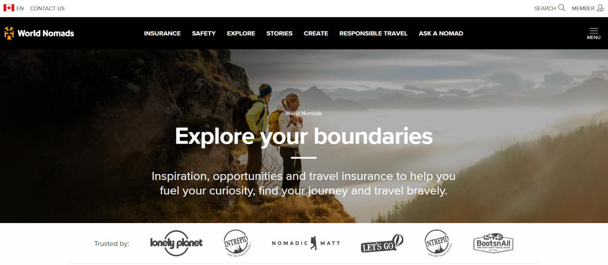 Screenshot of the WorldNomads.ca website that provides adventure travel insurance to nomads / backpackers in over 130 countries.