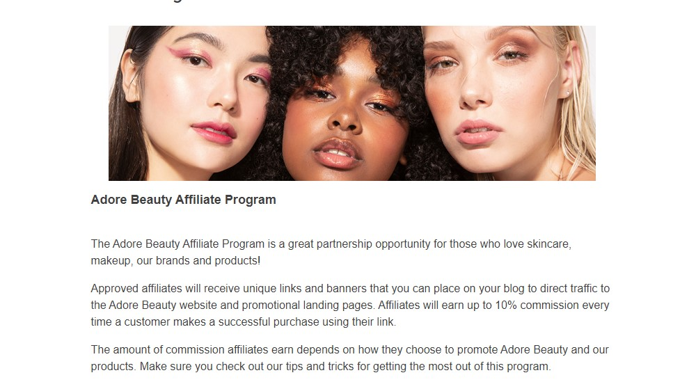 adore beauty affiliate sign up page