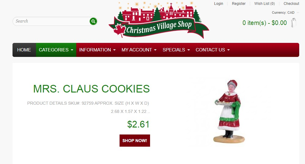 christmas village shop home page