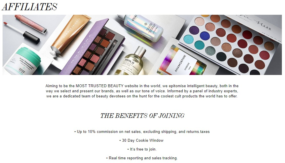 cult beauty affiliate sign up page