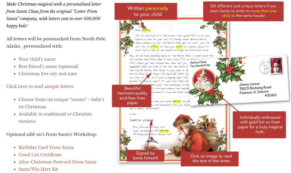 letters from santa home page