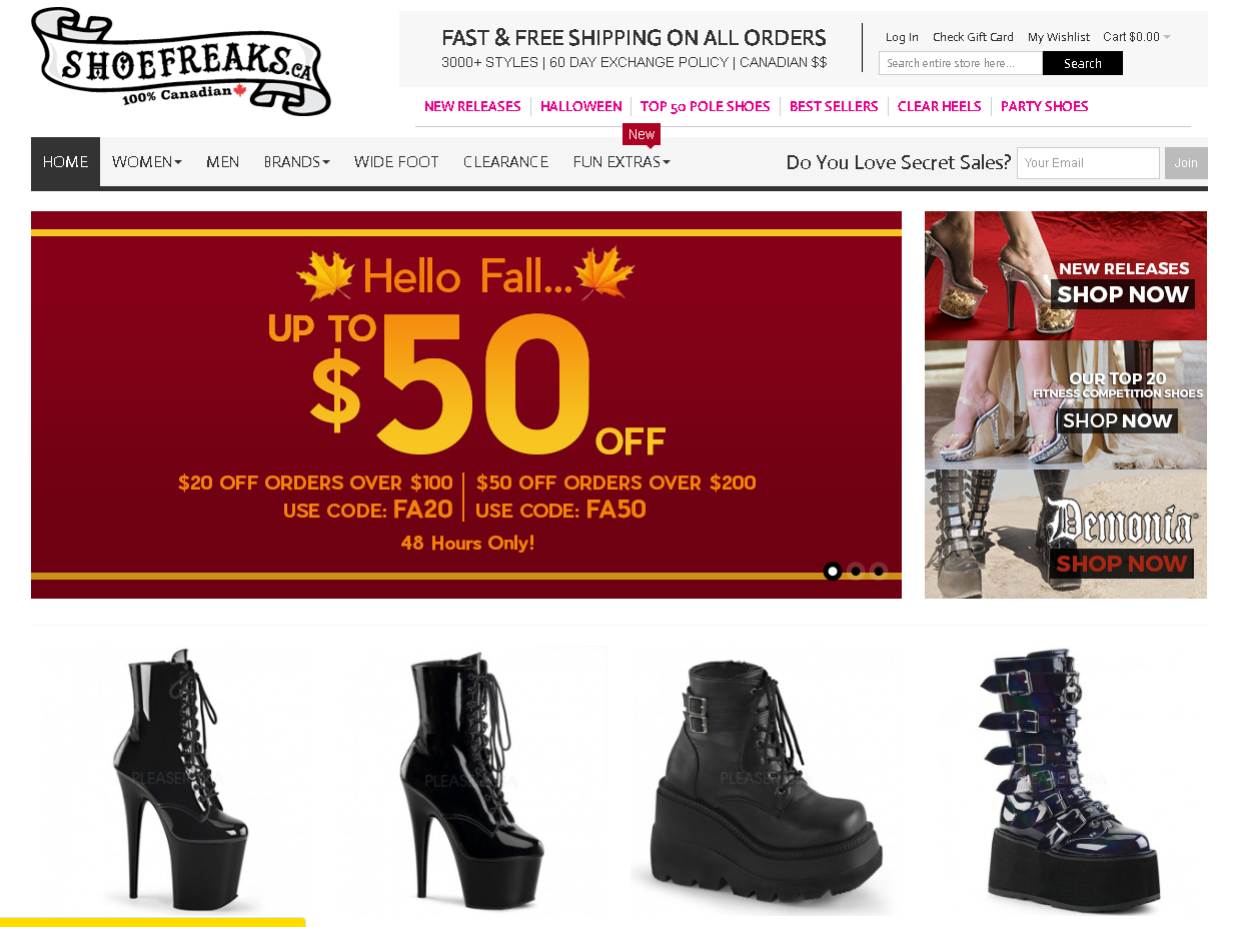 This is a screenshot of the ShoeFreaks.ca homepage, showing alternative shoe styles including 10-inch heels, pole shoes,  and platform shoes for men and women