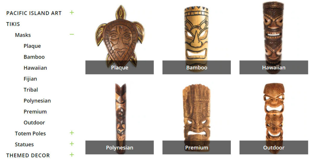 tiki master product category page