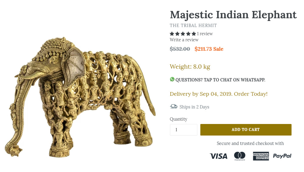 tribal hermit elephant figurine product page