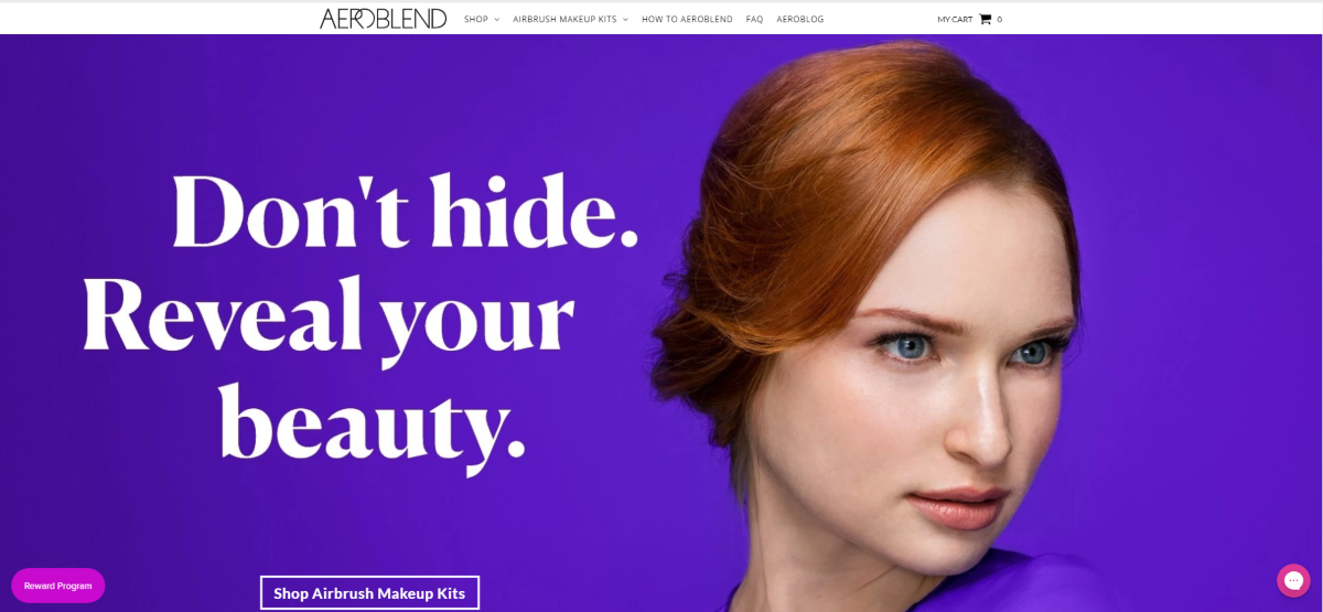 Screenshot of the Aeroblend.com website showing a woman with no skin blemishes, even makeup coverage and the words 'Don't hide. Reveal your beauty.'