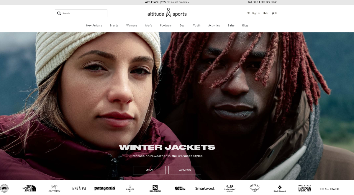 This is a screenshot of the Altitude-Sports.com website showing a couple dressed in winter clothing for outdoors. Under it is a row of sports brand logos that's avaialable including North Face, SmartWool and Osprey.